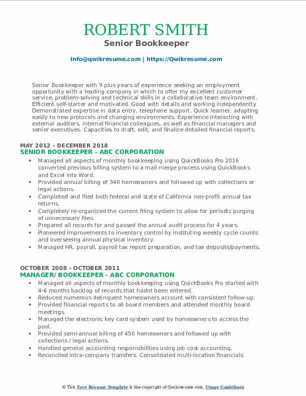 Senior Bookkeeper Resume Format