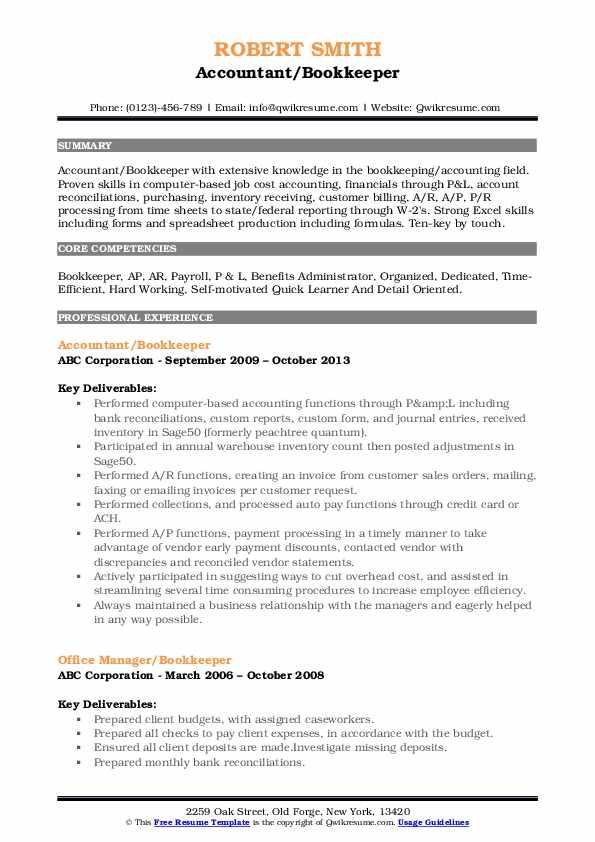 Accountant/Bookkeeper Resume Model