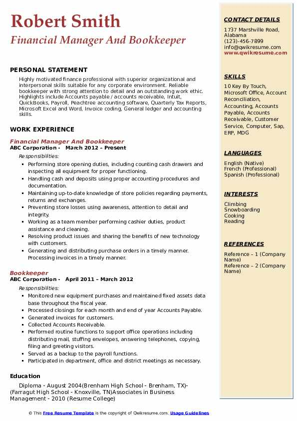 Financial Manager And Bookkeeper Resume Example