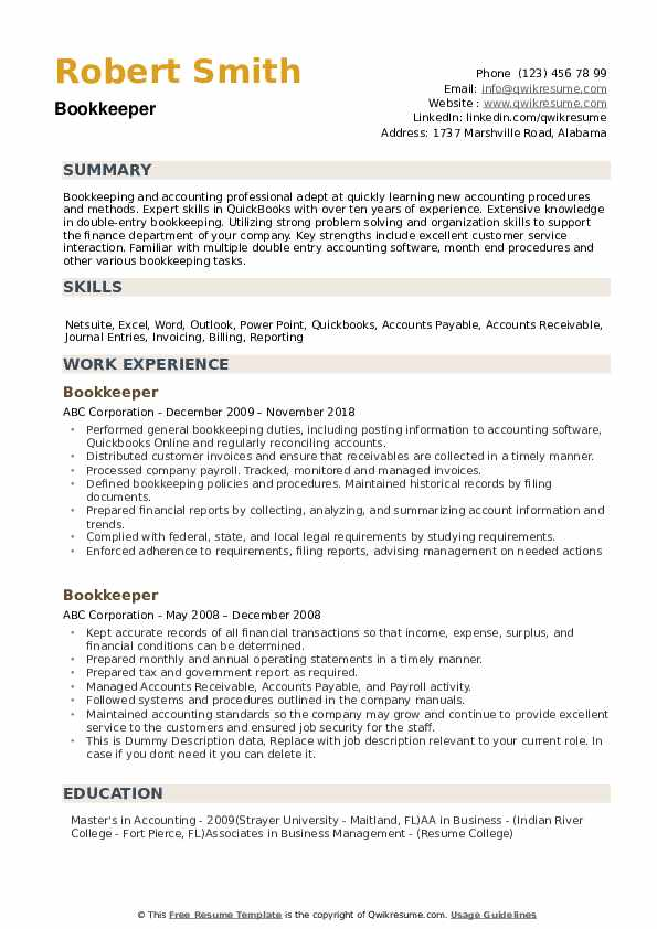 bookkeeper resume samples