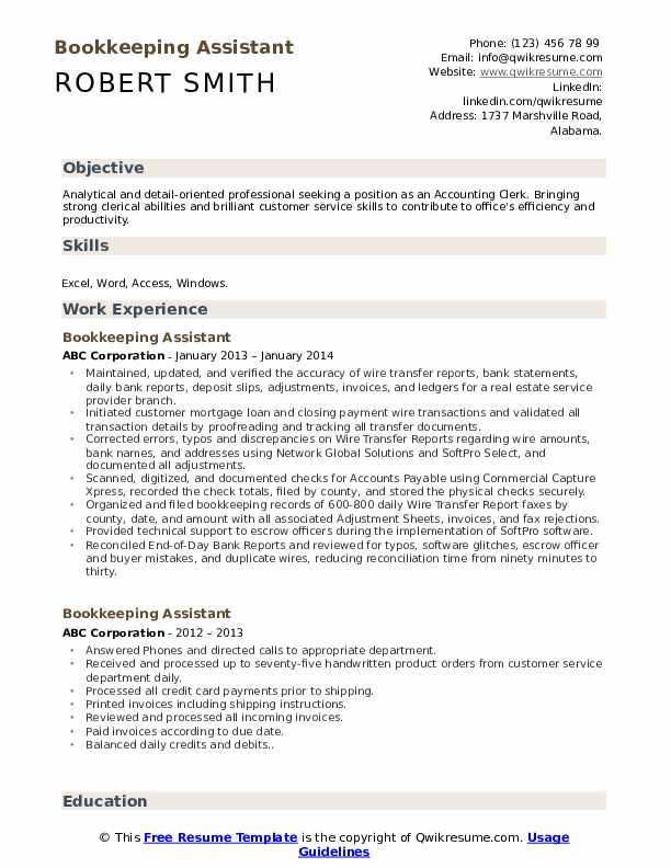 Bookkeeping Assistant Resume Sample