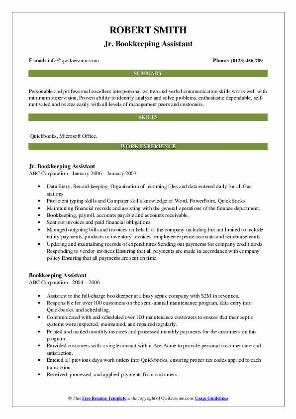 Jr. Bookkeeping Assistant Resume Example
