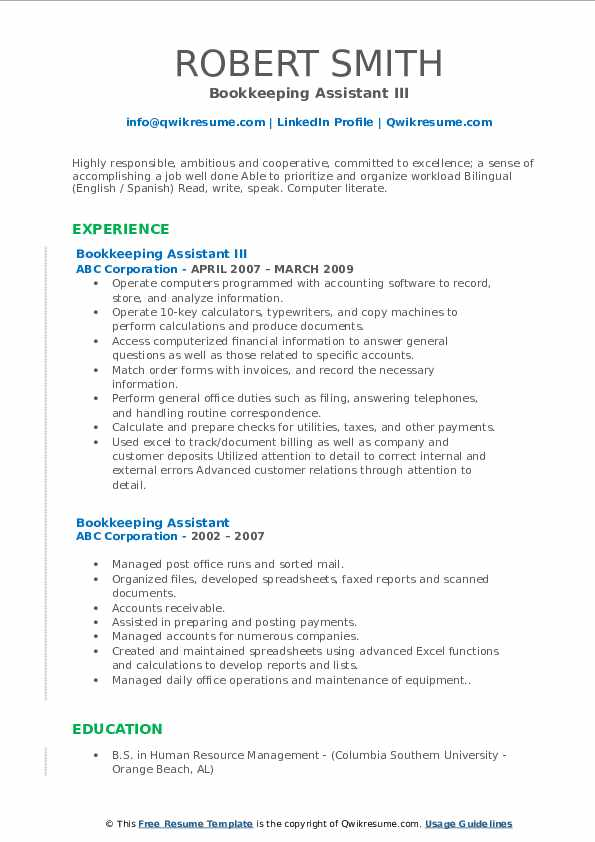 Bookkeeping Assistant III Resume Model