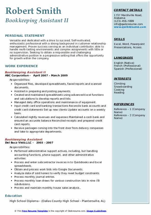 Bookkeeping Assistant II Resume Sample