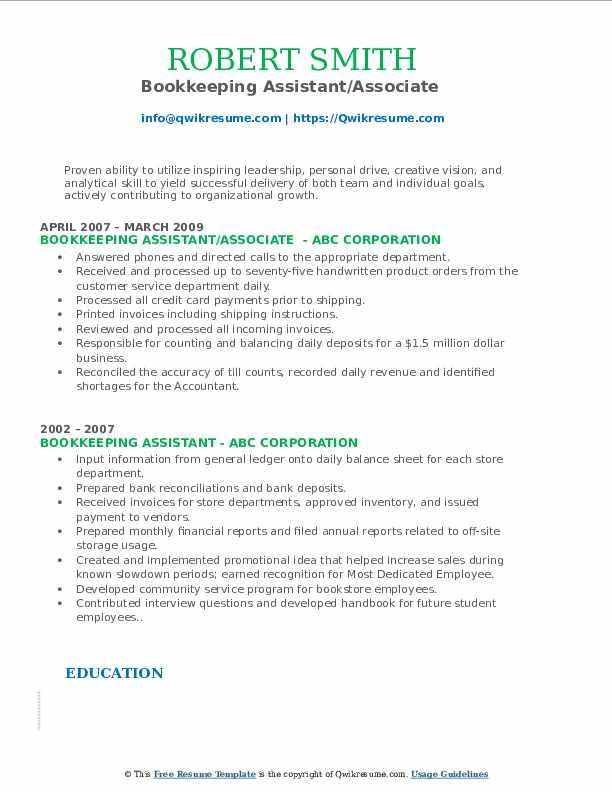 Bookkeeping Assistant/Associate  Resume Sample