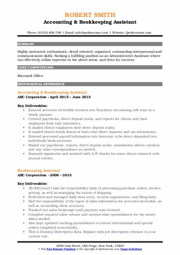 Accounting & Bookkeeping Assistant Resume Example