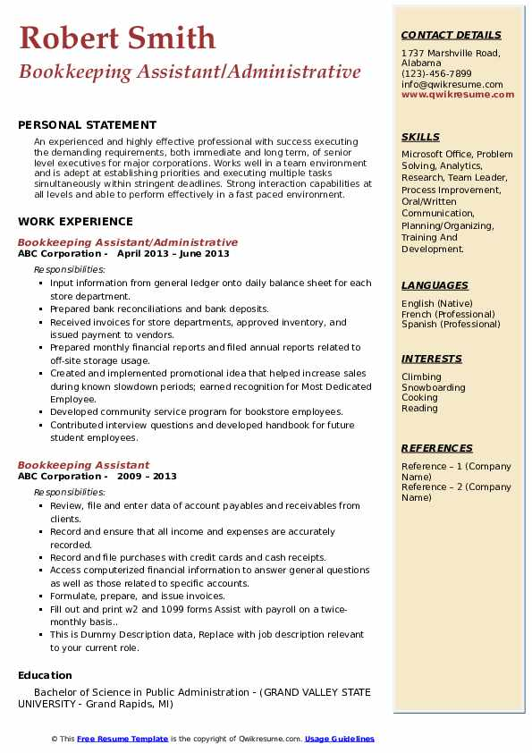 Bookkeeping Assistant/Administrative Resume Model