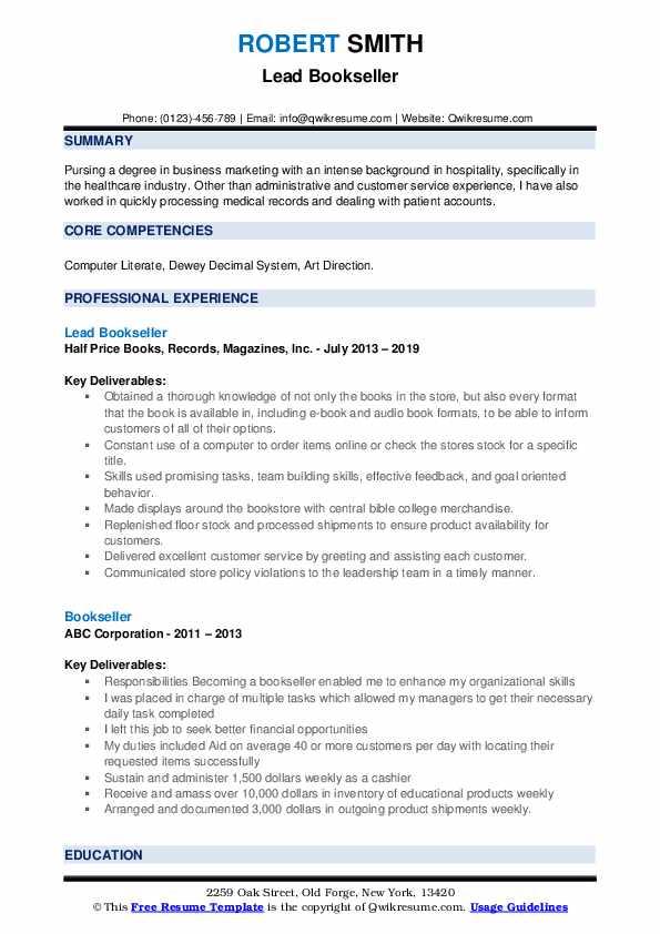 Lead Bookseller Resume Model