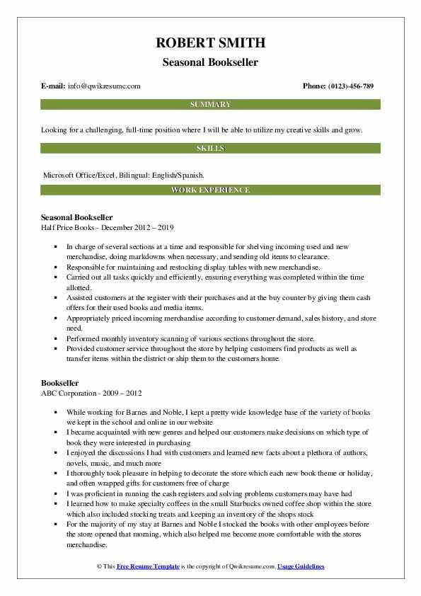 Seasonal Bookseller Resume Format