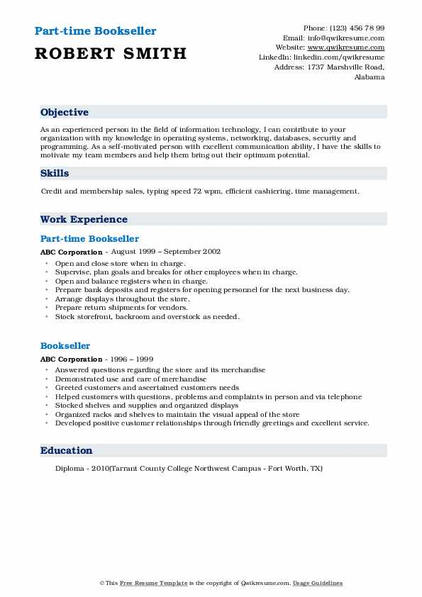 Part-time Bookseller Resume Format