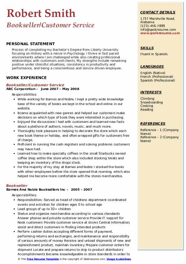 Bookseller/Customer Service Resume Example