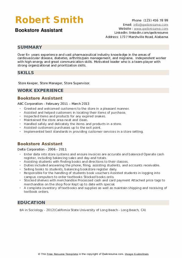 Bookstore Assistant Resume example
