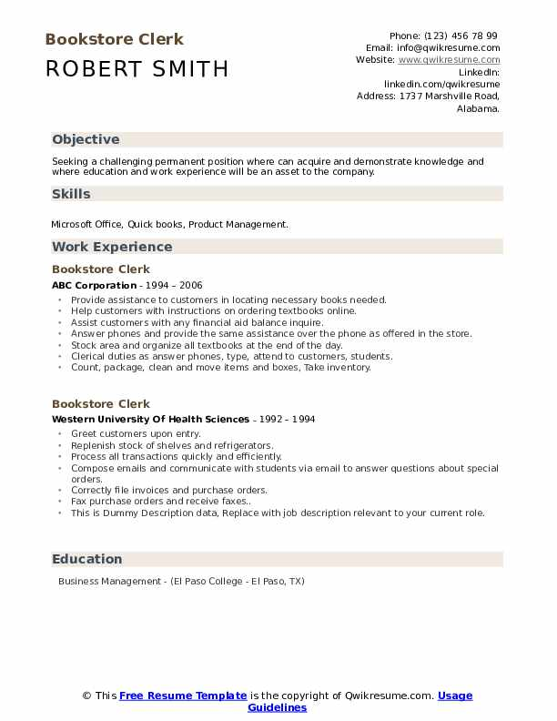 Bookstore Clerk Resume example