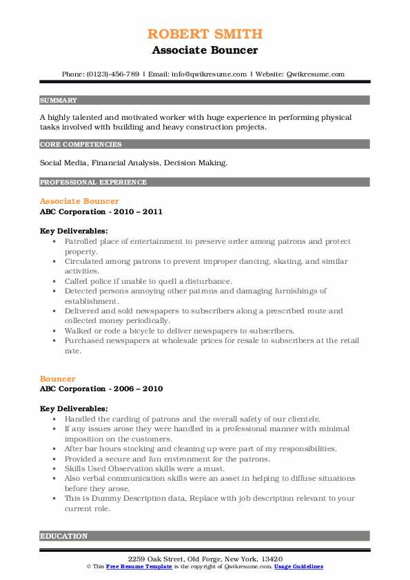 Sample resume bodyguard bouncer popular research proposal ghostwriting website ca