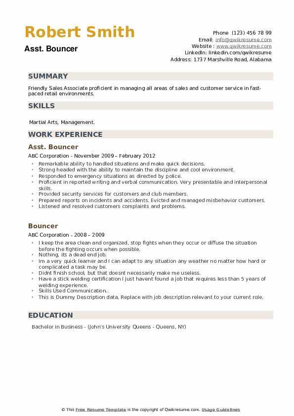 Resume examples for bouncer resume update in naukari com