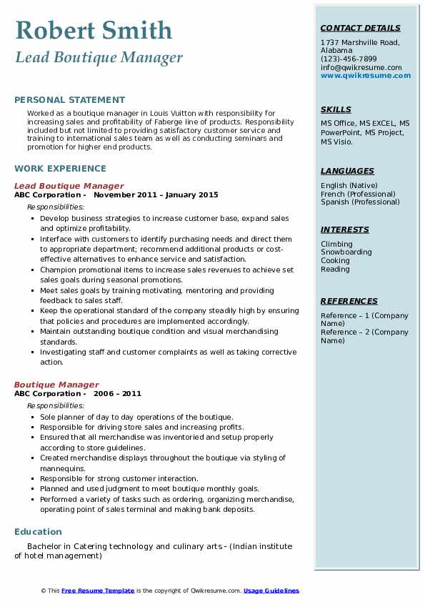 Lead Boutique Manager Resume Template