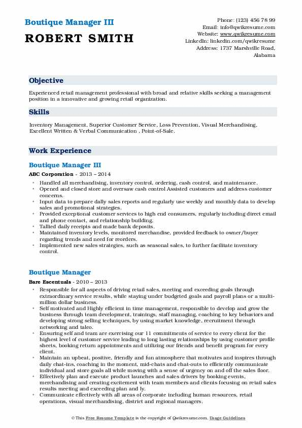 Boutique Manager III Resume Format