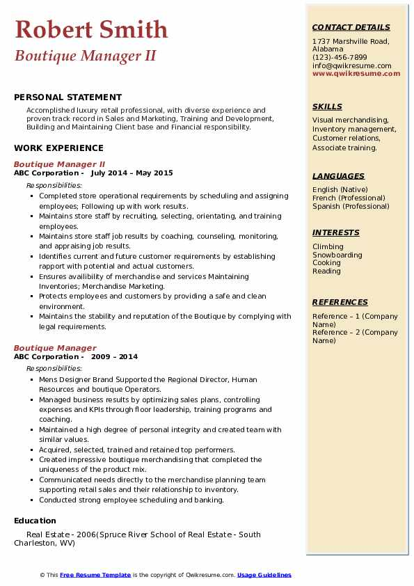 Boutique Manager II Resume Format