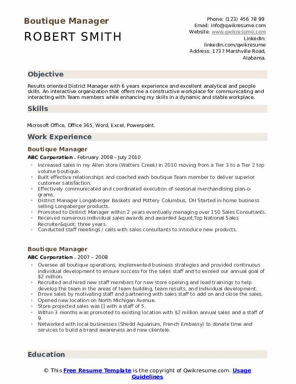 Boutique Manager Resume example