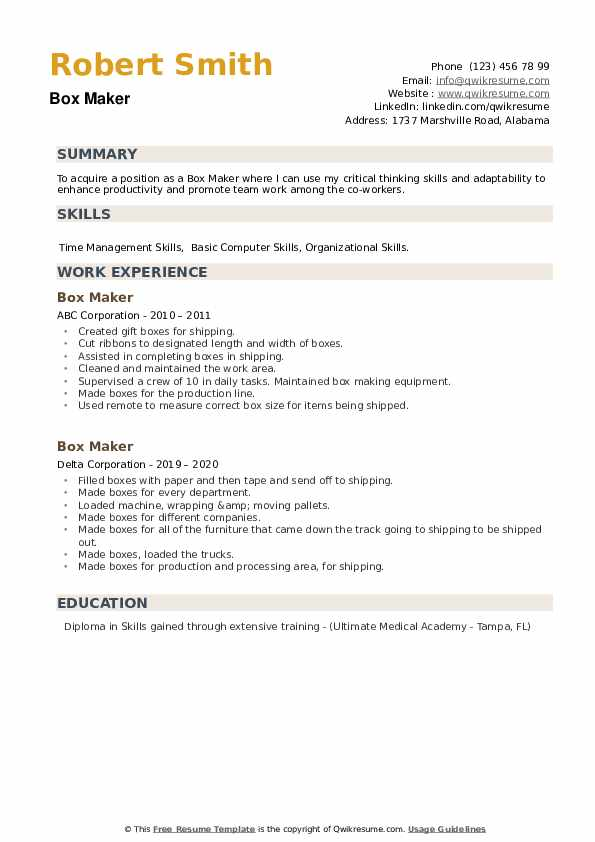 Box Maker Resume example