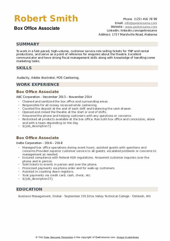 Box Office Associate Resume example