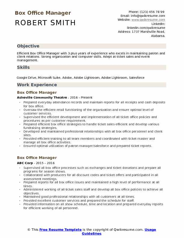 Box Office Manager Resume Format