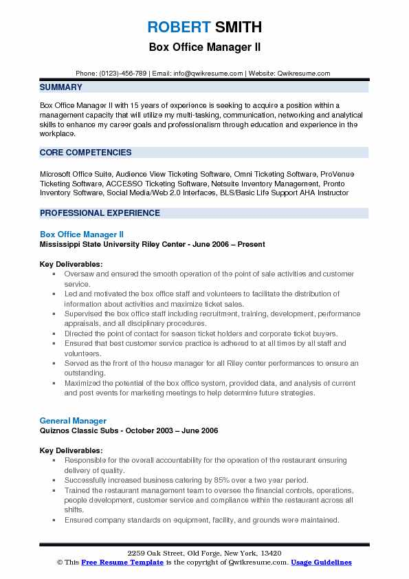 Box Office Manager II Resume Model