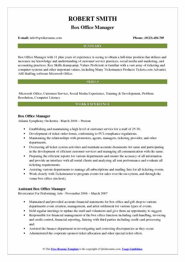 Box Office Manager Resume Sample