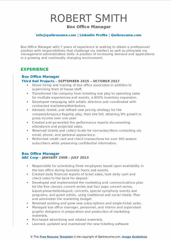 Box Office Manager Resume Template