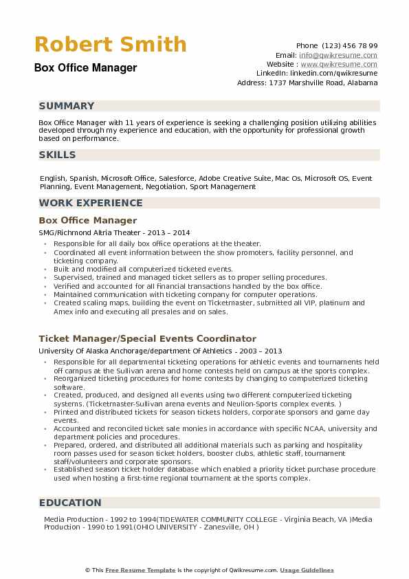 Box Office Manager Resume example