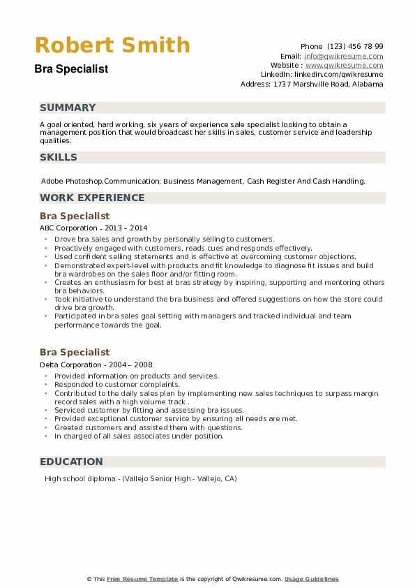 Bra Specialist Resume example