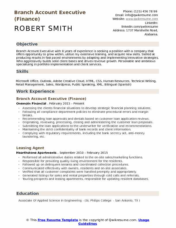 Branch Account Executive (Finance) Resume Format
