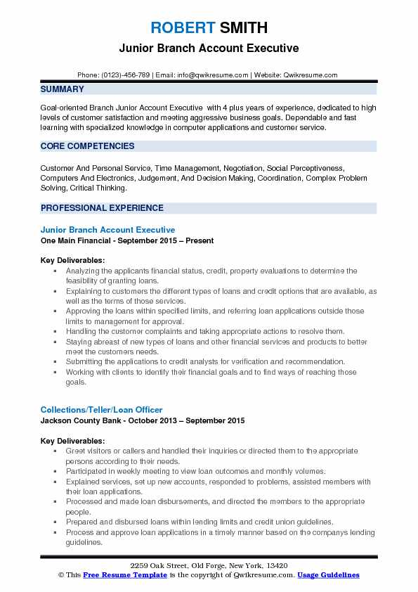 Junior Branch Account Executive Resume Model