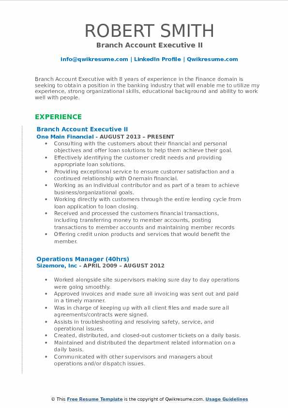 Branch Account Executive II Resume Example