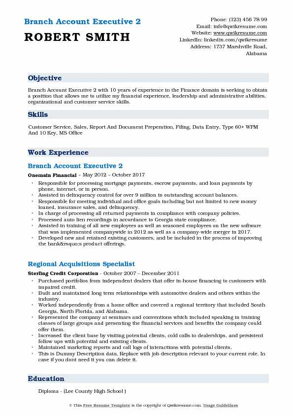 Branch Account Executive 2 Resume Sample
