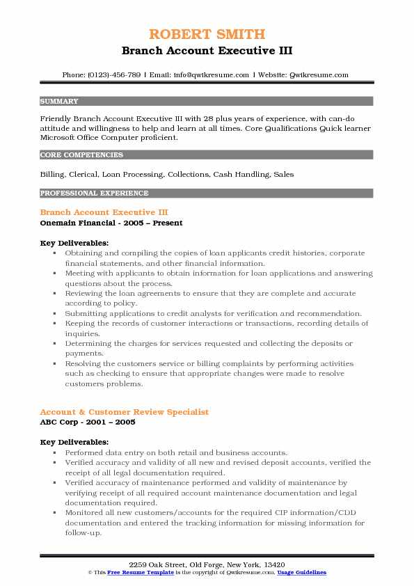 Branch Account Executive III Resume Format