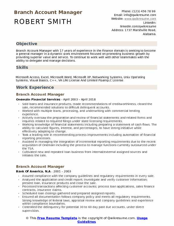 Branch Account Manager Resume Model