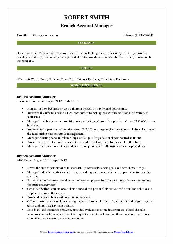 Branch Account Manager Resume Template