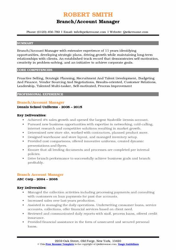 Branch/Account Manager Resume Format