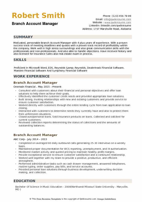 Branch Account Manager Resume example