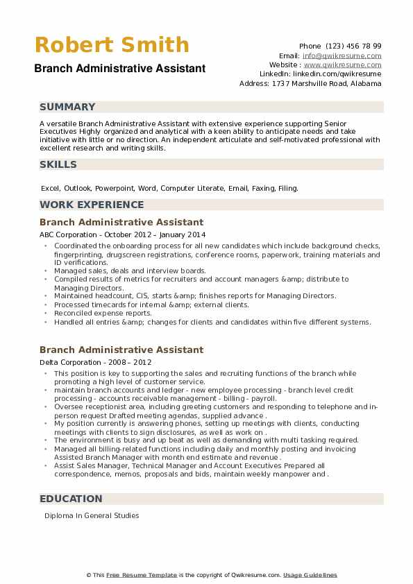 Branch Administrative Assistant Resume example