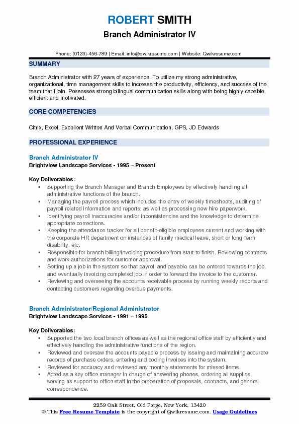 Branch Administrator IV Resume Model
