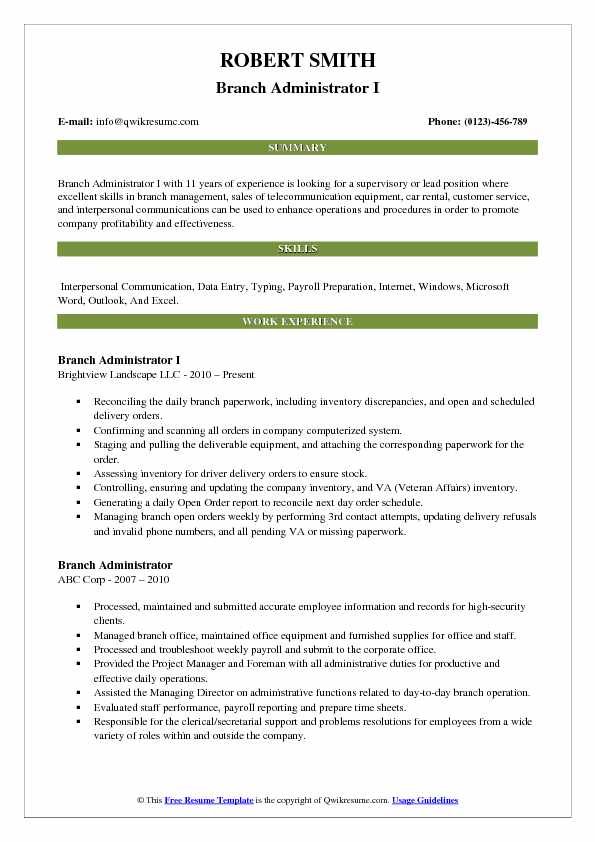 Branch Administrator I Resume Template
