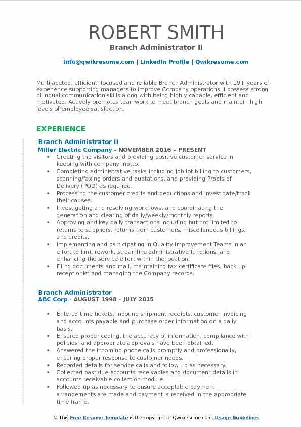 Branch Administrator II Resume Sample
