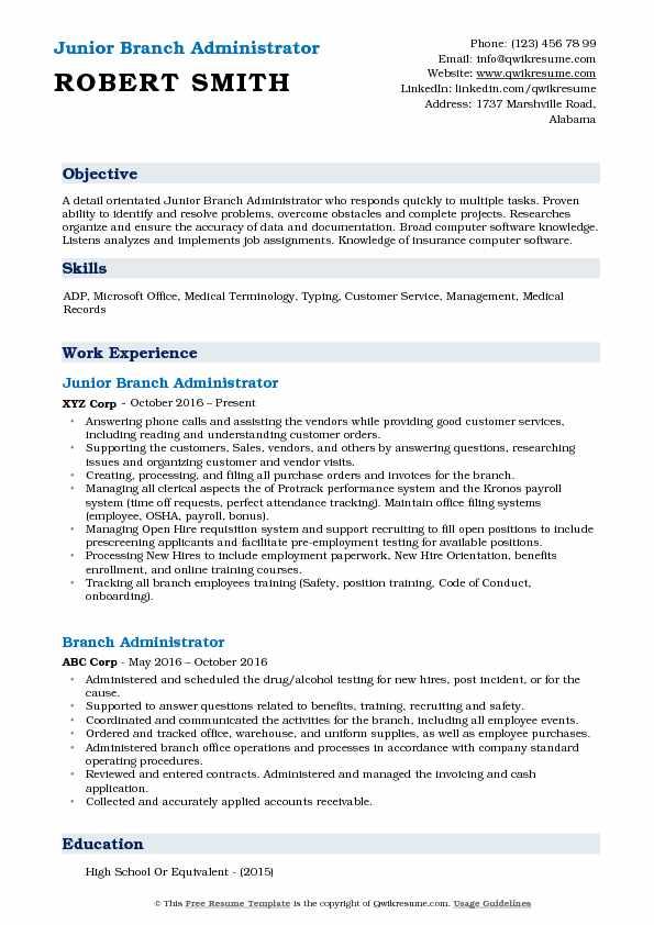 Junior Branch Administrator Resume Example