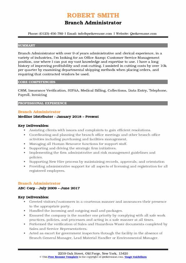 branch administrator resume samples