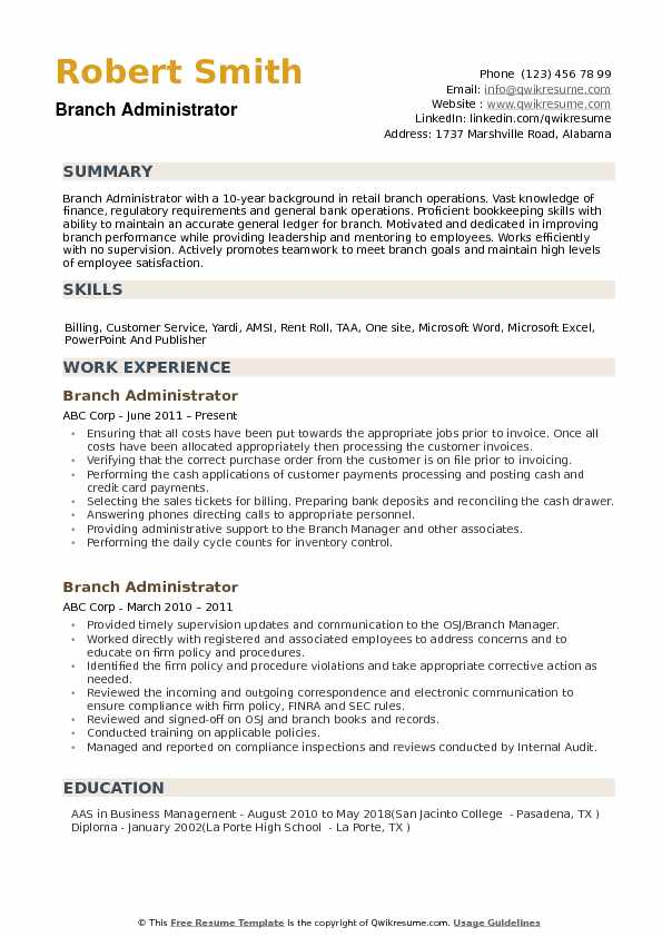 Branch Administrator Resume example