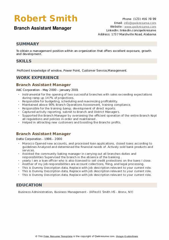 Branch Assistant Manager Resume example