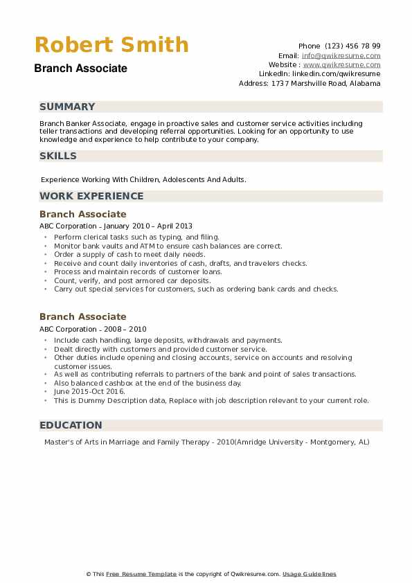 Branch Associate Resume example