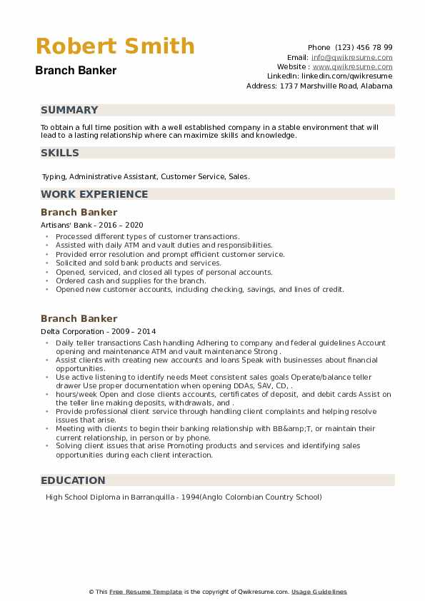 Branch Banker Resume example
